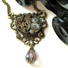Topaz Steampunk Filigree OOAK Necklace Exclusive Design by Mystic Pieces #steampunk #mysticpieces