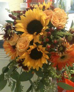 Sunflower bouquet, Walker-Bachman wedding