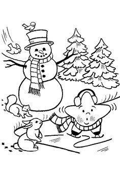 Image à colorier d'un bonhomme de neige, d'une étoile patineur et de deux petits animaux.