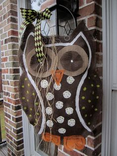 Owl Burlap Door Hanger Door Decoration. $28.00, via Etsy.