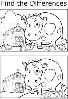 Hone your observation skills by finding the differences between the two pictures of a cow on a farm in this printable coloring page. Farm Coloring Pages, Coloring Pages For Kids, Coloring Books, Spot The Difference Printable, Kindergarten, Hidden Pictures, Picture Puzzles, Activity Sheets, Preschool Worksheets