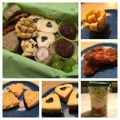 Lunch Box - Salat im Glas - gemischter Salat (Tomaten, Weintrauben, Ei, Käse, Eisbergsalat) im Glas mit Kräuter-Dressing / Zwiebelbrot mit Butter und Käse in Herz-Form / Omelett in Blüten-Form / Chicken Wings / Cookie Dough Pralinen / dekoriert mit Weintrauben, Käse und Erdnüssen