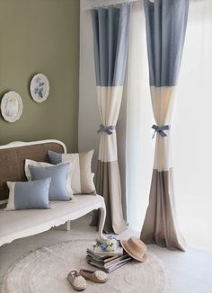 Custom Made Brief blue and white color block decoration living room curtain