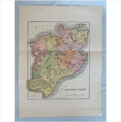 Antique 19th Century Colour Printed Map - Caithness Shire - 1880s on eBid United Kingdom