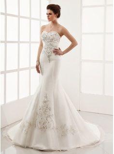 Wedding Dresses - $280.99 - Trumpet/Mermaid Sweetheart Chapel Train Organza Satin Wedding Dress With Embroidery Beading  http://www.dressfirst.com/Trumpet-Mermaid-Sweetheart-Chapel-Train-Organza-Satin-Wedding-Dress-With-Embroidery-Beading-002000554-g554