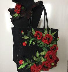 """Купить Комплект """"маковое поле"""" - черный, мак, красный, цветы, екатерина тасминская, сумка с маками"""