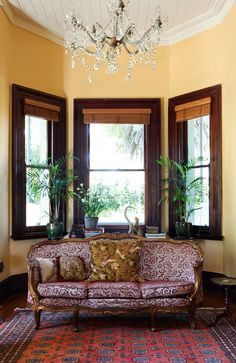 Love this vintage couch in this vintage house!