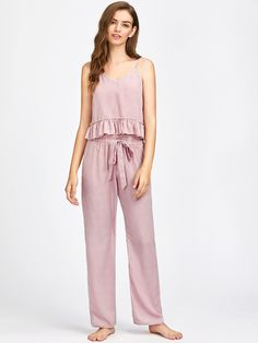 Shop Frill Trim Striped Cami And Belted Pants Pajama Set online. SheIn offers Frill Trim Striped Cami And Belted Pants Pajama Set & more to fit your fashionable needs. - Pajama Sets - Ideas of Pajama Sets Cute Sleepwear, Sleepwear Women, Pajamas Women, Loungewear Set, Satin Pyjama Set, Pajama Set, Womens Pyjama Sets, Cute Pajamas, Pajama Bottoms