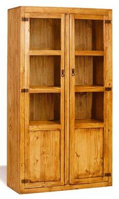 #Vitrina modular estilo #rústico #mejicano de dos puertas de cristal y madera. Más información en : http://rusticocolonial.es/mueble-rustico-y-mueble-mejicano-de-gran-calidad-al-mejor-precio/muebles-de-salon-rusticos-y-mejicanos-de-gran-calidad-al-mejor-precio/vitrinas-rusticas-y-mejicanas-de-gran-calidad-al-mejor-precio/results,31-30