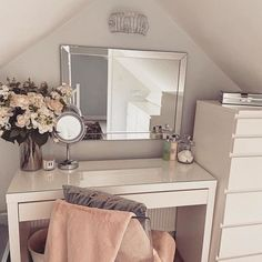 Every girl dreams of the perfect dressing table to do her hair do her makeup. A whole load of drawers full of the. Dressing Room Decor, Bedroom Dressing Table, Dressing Room Design, Ikea Malm Dressing Table, Dressing Table Mirror, Ikea Malm Table, Dressing Table Inspo, Ikea Vanity Table, My New Room