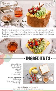 Honey Toast Box with Fresh Fruit  More recipes on www.daydaycook.com