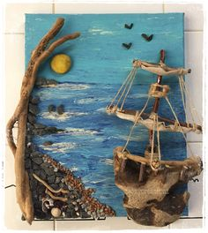 Acryl auf Leinwand Segelschiff mit Treibholz - Best Picture For stone cartoon For Your Taste You are looking for something, and it is going to tell you exac Stone Sculpture, Sculpture Art, Driftwood Projects, Driftwood Art, Diy Projects, Seashell Art, Seashell Crafts, Art Pierre, Sea Crafts