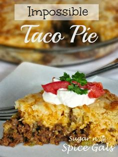 Taco pie 1 pound ground beef, lean meat ( ground (lb beef) ) onion ( chopped ) 1 teaspoon garlic ( minced ) 1 Can oz) green chiles ( diced ) 1 package(s) taco seasoning 1 cup grated cheddar cheese 1 cup milk cup Bisquick Baking Mix 3 eggs Taco Pie Recipes, Casserole Recipes, Mexican Food Recipes, Cooking Recipes, Best Taco Pie Recipe, Enchilada Casserole, Mexican Dishes, Vegetarian Recipes, Chicken Recipes