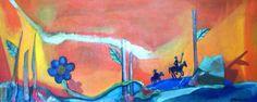 El Quijote visita el Champagnat_05, Free interpretation of Don Quixote, Don Quixote visits the Champagnat, oil, Katia Landauro painter, peruvian painters, Abstract painter, emerging painter, Lima Peru.