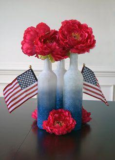 DIY patriotic Centerpiece with blue ombre glitter bottles - 30 minutes modge podge project.