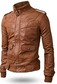 Men's leather jacket Men stand Collar Slim fit by Myleatherjackets