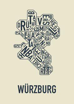 Würzburger Stadtteile als Kunstdruck  #Typo #Würzburg #Typografie #Poster #Kunstdruck