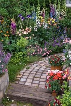 beautiful pathway and garden, love the height of these flowers. #garden #path I will have to do a raised bed, but the pathway could be really rustic.