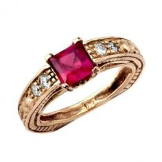 Enchanting Square Red Ruby and Diamond 14k Gold Engagement Ring - Gemstone Rings - Rings