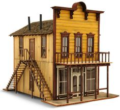 Don's Dry Goods Details include: Interior etched floor boards, interior walls, r. Play Houses, Bird Houses, Old Western Towns, Old West Town, Ho Scale Buildings, Building Front, Saloon, Exterior Stairs, Roof Trusses