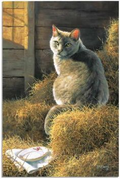 Big Grey's Barn & Bistro by Bonnie Marris. #art #cute #cats