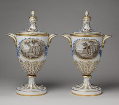 Pair of vases, ca. 1784–95  Spanish; Buen Retiro - Soft-paste porcelain  -  The Metropolitan Museum of Art