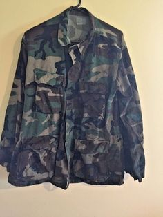 USED Military Fatiques Camo Long Sleeve Button Up Shirt Size Medium Long NATO #NATO #ButtonFront