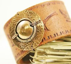 Leather Cuff Copper Washer Focal Handtooled | WhimOriginals - Jewelry on ArtFire