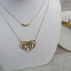 NEW personalized 'open heart monogram'  layered with the 'trio of hearts'  These make a beautiful Xmas gift  site link in bio to shop! #acfjewels #personalized #monogram #layering #heart #musthave #gift