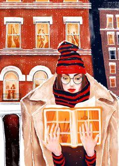 Cada cual se divierte a su manera. Tardes de domingo, frío y lector (ilustración de Natasha Shaloshvili)