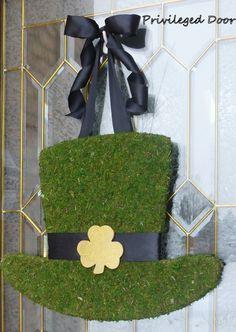 St. Patricks Day Wreath.  St. Pattys Wreath.  Irish Wreath.  Moss Covered Leprechaun Hat.  Irish Luxury for your door.. $59.00, via Etsy.