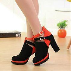 Bombas de la plataforma de los zapatos de tacones gruesos de ante de las mujeres de los zapatos más colores disponibles - EUR € 21.48
