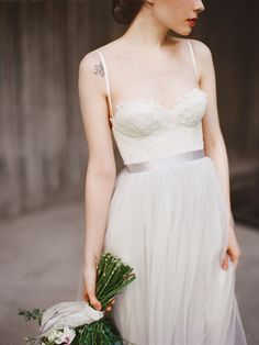 Icidora // Romantic wedding dress  Grey wedding von Milamirabridal
