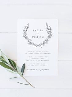 Wedding Invitation Template Wreath Wedding Invitation Editable