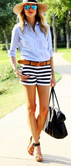 #SpringBreak #Outfits / Light Blue Long Sleeve Shirt - Striped Shorts