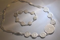 Silver Filigree Necklace and Bracelet  Etsy: Silverleafjewelryco