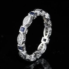 Vintage Platinum Diamond Sapphire Eternity Band