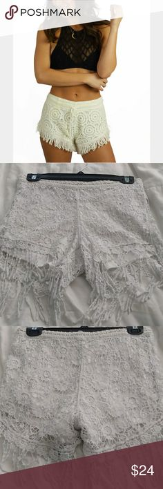 Vintage havana crochet fringe shorts Pull on. Lace/crochet with lining underneath  Modeled picture is not exact, shown for similar fit  Worn once, hand washed Size medium Vintage Havana Shorts