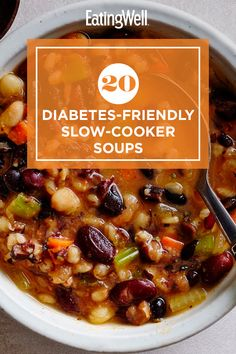 Check out these recipes for delicious, diabetes-friendly soups that simmer away on the slow cooker to save you time in the kitchen. Let your slow cooker do the work for you as you whip up Mushroom Soup with Sherry or Pork Green Chile Stew. Diabetic Slow Cooker Recipes, Diabetic Soups, Diabetic Food List, Diabetic Recipes For Dinner, Healthy Recipes For Diabetics, Diabetic Meal Plan, Low Carb Recipes, Diet Recipes, Cooking Recipes