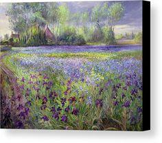 Trackway Past The Iris Field Canvas Print featuring the painting Trackway Past The Iris Field by Timothy Easton