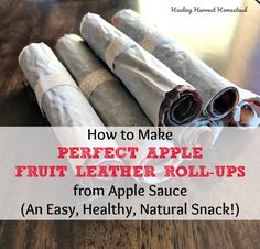 How to Make Incredible Fruit Leather Snacks from Apple Sauce (Along With a Dehydrating Mistake You Don't Want to Make!) — Home Healing Harvest Homestead Dehydrated Apples, Dehydrated Food, Apple Snacks, Apple Fruit, Cinnamon Recipes, Apple Recipes, Fruit Roll Ups, Leather Roll, Chicken Breast Recipes Healthy