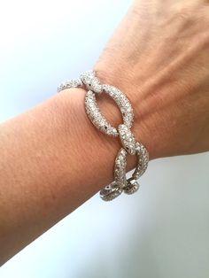 Vintage Silver White Stone Bracelet Pave by WOWTHATSBEAUTIFUL
