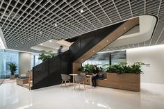 Stairway To (Workplace) Heaven: Dentsu Aegis Network Beijing Office Ceiling Design, Interior Ceiling Design, Interior Design Guide, Modern Office Design, Workplace Design, Commercial Interior Design, Office Interior Design, Commercial Interiors, Office Designs