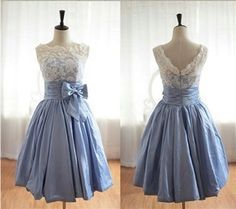 Vintage Inspired Lace BlueTaffeta Wedding Dress