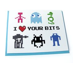 Featuring 16 and 32 bit doodles of some of my favorite 80s video games, this card conveys just the right geeky flirtation appropriate to seduce