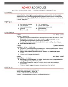 sample resume for a cashier sampleresume resumetips