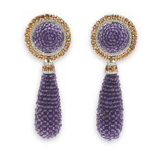 A pair of amethyst, orange sapphire and diamond pendant earclips, Sabbadini