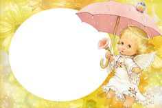 Yellow Transparent Kids Frame with Cute Angel