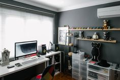 Minimal Desks - Simple workspaces, interior design. Like the shelves (ikea?) could put plants on them