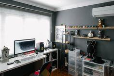 Minimal Desks - Simple workspaces, interior design. Like the shelves (ikea?) could put plants on them